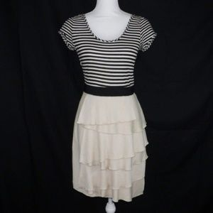BCBG MaxAzria Black Tan Striped Tired Dress Size 4
